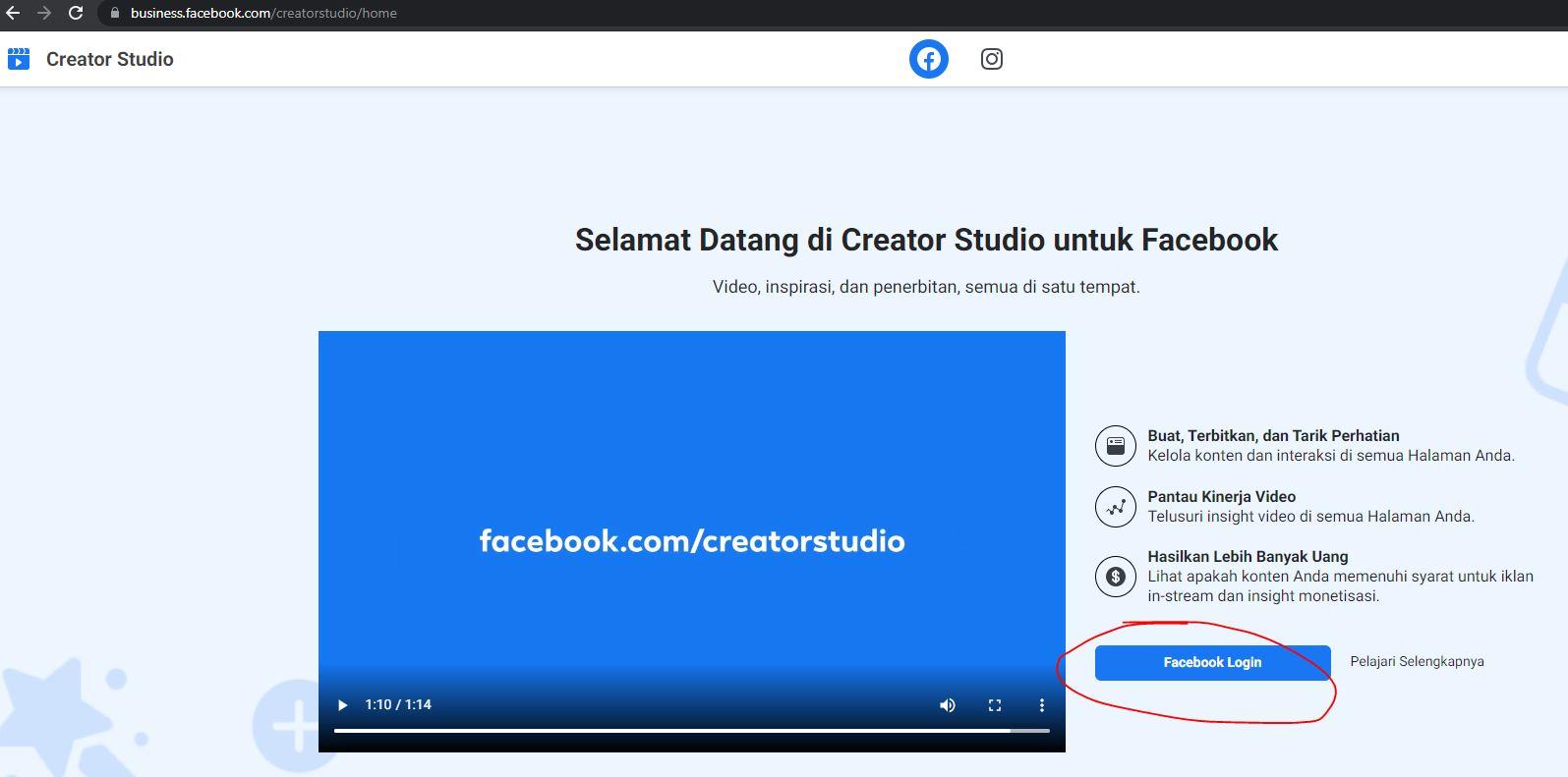 Login Untuk Facebook Studio